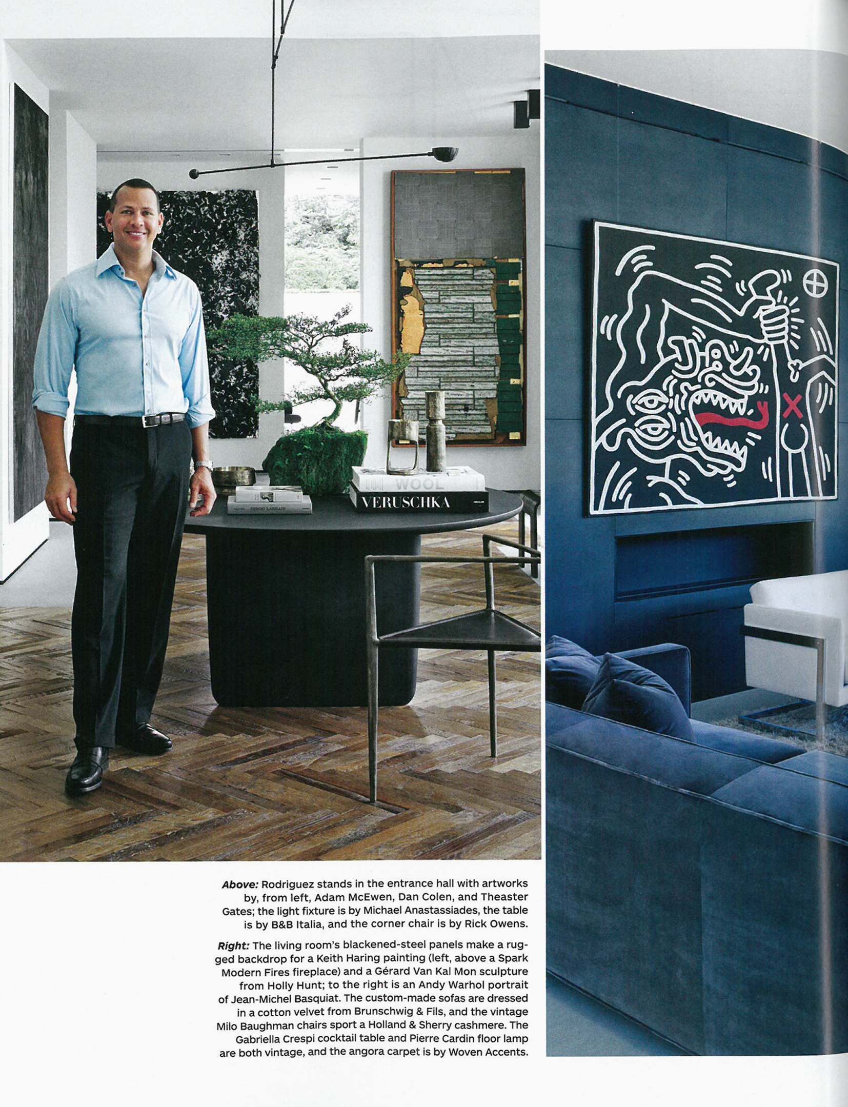 Architectural Digest article featuring the Tobi-Ishi Table from B&B Italia