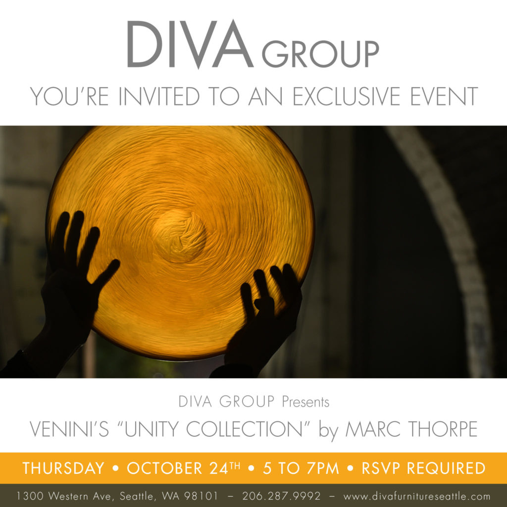 You're invited to an exclusive event – Venini's Unity Collection by Marc Thorpe. RSVP required.